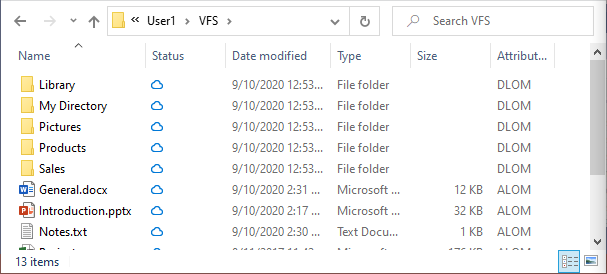 Initially files are marked with offline attribute and contain no data on disk